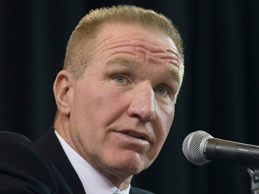 FILE - In this April 1, 2015, former NBA basketball All-Star and St. John's alumnus Chris Mullin speaks during a news conference to announce his hiring as St. John's men's basketball coach, in New York. The reaction from the people around the St. John's program has been ultra positive since the Naismith Memorial Hall of Famer was named to replace Steve Lavin, who took the Red Storm to the NCAA Tournament twice in five seasons.(AP Photo/John Minchillo, File)