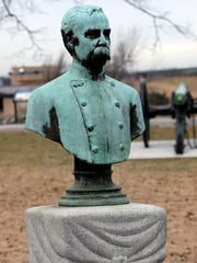 A bust of Confederate Capt. J. Harvey Mathes, shown