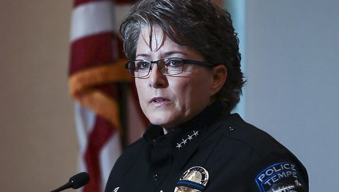 Tempe Police Chief Sylvia Moir makes a statement to the media about the officer involved shooting of Dalvin Hollins during a press briefing at the Tempe Police Apache Substation on July, 29, 2016.