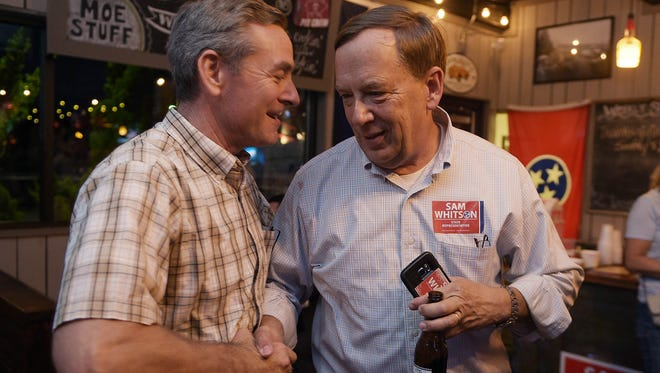 Rep. Glen Casada, left, congratulates 65th District House Republican candidate Sam Whitson during election night in Franklin on Aug. 4, 2016.