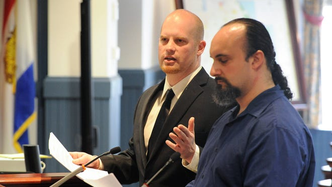 Rob Walker (left) and John Talkington present their plans to launch Brimming Horn Meadery to Sussex County Council in April.
