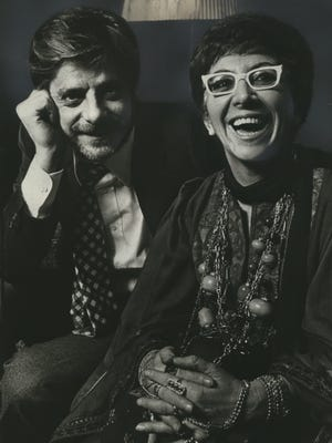 Director Lina Wertmuller (right) shares a laugh with actor Giancarlo Giannini in this 1976 photo.