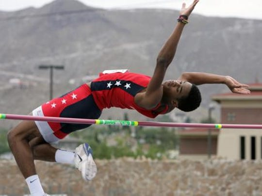KeAndre Bates competed in the high jump duirng the