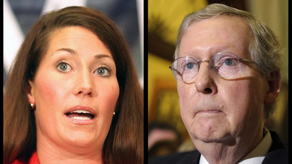 Alison Lundergan Grimes and Mitch McConnell.