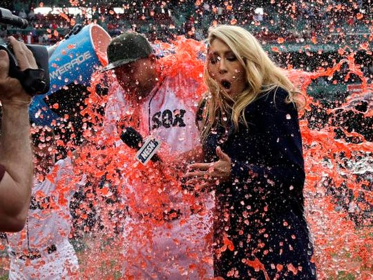Boston Red Sox starting pitcher Brian Johnson, left,