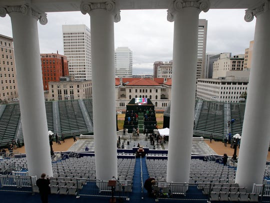 Workers and staff finalize preparations for the Inauguration