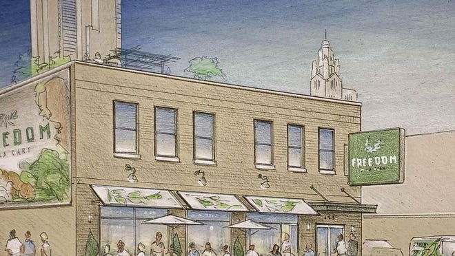 A rendering of the new Downtown Freedom a la Cart cafe and bakery at 123 E. Spring St., due to open in early March.