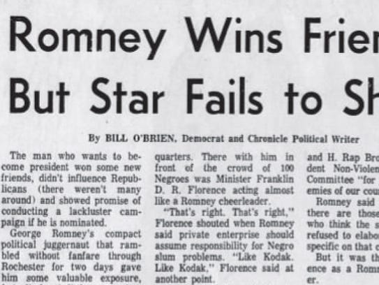 A Democrat and Chronicle headline reporting on George