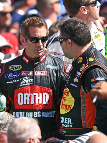Greg Biffle, left, was with a group of riders with