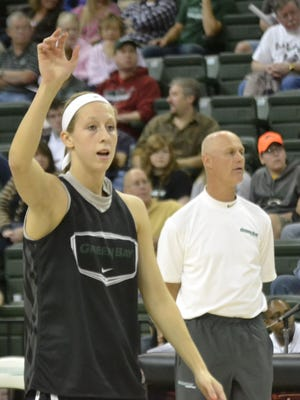 With UWGB coach Kevin Borseth in the background, freshman guard Allie LeClaire participates in a preseason scrimmage last Saturday at the Kress Center. LeClaire is a graduate of Green Bay Notre Dame.