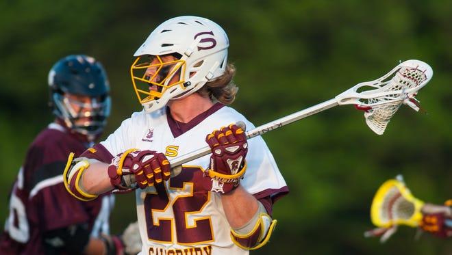 Salisbury attack Nathan Blondino (22) looks to pass against Roanoke College.