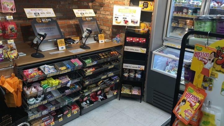 Self-service kiosks replace staff at the checkout counter