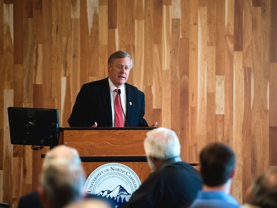 U.S. Rep. Mark Meadows speaks about health care to the Council of Independent Business Owners Friday at UNC Asheville's Sherrill Center.