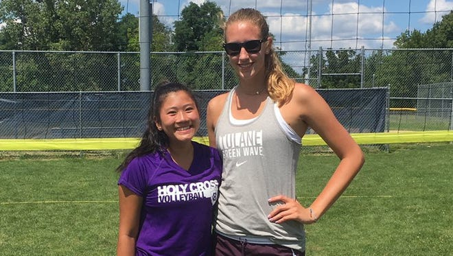 Ardsley senior Christina Chu (left) and Panas senior Yvette Burcescu (right) won the annual Section 1 grass doubles tournament at Walter Panas High School on Aug. 13, 2017.