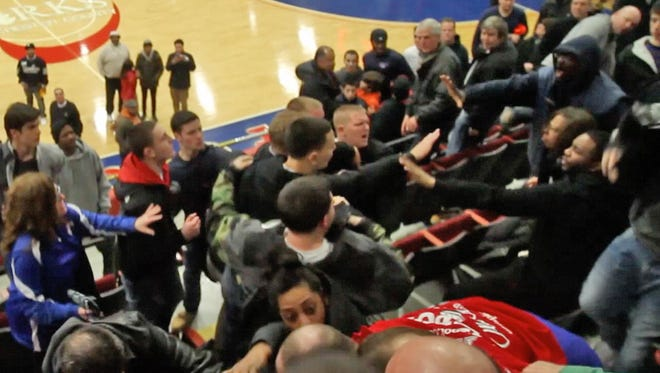 Screen Grab from video of a scuffle that broke out following Mount Vernon's 43-40 victory over Mahopac in the Class AA boys basketball semifinal game at the Westchester County Center in White Plains Feb. 27, 2014.