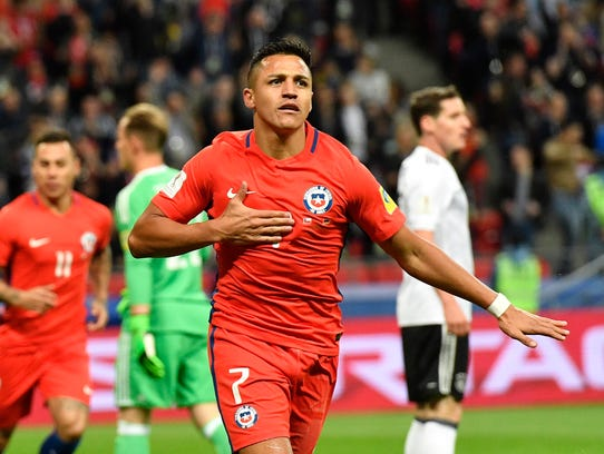 Chile's Alexis Sanchez celebrates after scoring a goal