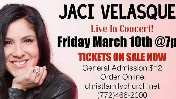 The ministry of multi-award winning singer Jaci Velasquez will visit the Christ Family Church with her tour on Friday, March 10, at 7 p.m.