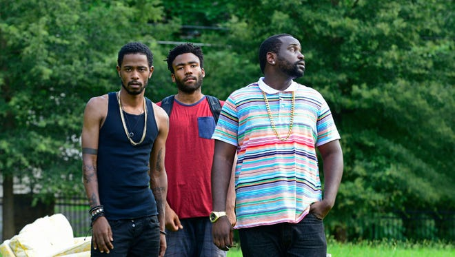 Keith Standfield as Darius,  from left, Donald Glover as Earnest Marks and Brian Tyree Henry as Alfred Miles in 'Atlanta.'