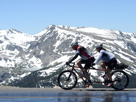 Cyclists ride Trail Ridge Road in Rocky Mountain National