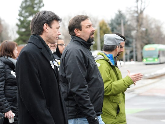 """City Councilmember Bob Overbeck walks with CSU President Tony Frank in the Martin Luther King, Jr. March on Monday, January 16, 2016. This year's theme was """"Justice Now."""""""