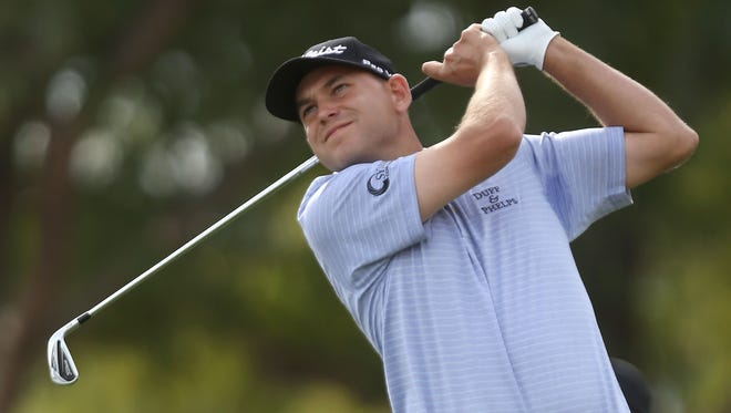 Bill Haas tees off on the 6th hole at the PGA West TPC Stadium course during the third round of the CareerBuilder Challenge, January 23, 2016.