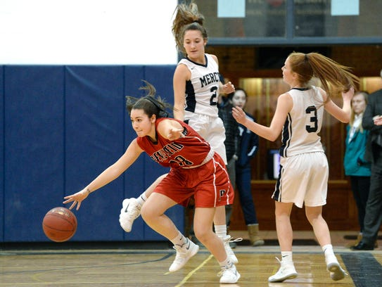 Penfield's Jessica Rinere, left, splits the defense