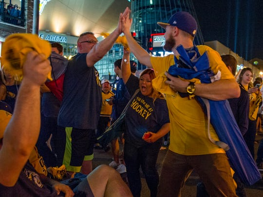Predators fans fill Broadway as they celebrate the