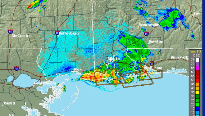 Pensacola area weather radar for Thursday, March 17, 2018.