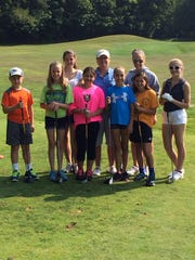Jorie Ftorek has been a golf instructor at Endwell Greens for the past 18 years. In this group are, front row, from left, Joseph Underwood, Isabella Fellows, Nicole Havel, Kasey Terenzi, Samantha Havel and Maria; back row, from left, Ann Havel, Jorie Ftorek and Serena Woody.