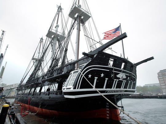 """The USS Constitution, also known as """"Old Ironsides,"""" is docked at the Charlestown Navy Yard on July 24 in Boston. The world's oldest commissioned warship still afloat has undergone over two years of restoration in dry dock."""