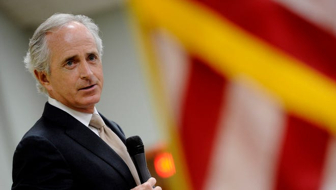 Sen. Bob Corker, R-Tenn. speaks to a Franklin Rotary luncheon in Nashville, Tenn. Corker has been part of ongoing talks with the White House over fiscal issues.