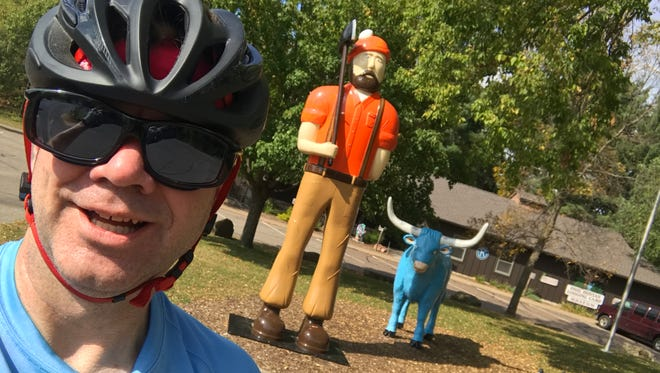 Me, Paul Bunyon and Babe the Blue Ox broiling at Carson Park in Eau Claire. It was so hot that Paul looked like he was about to cry.