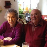 Waltraud Thomas Vaughan poses with her brother Kurt at Ostheim after a recent visit.