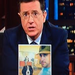 """""""Late Show"""" host Stephen Colbert addressed Aaron Rodgers during a visit Thursday night by the Packers quarterback's girlfriend, actress Olivia Munn."""
