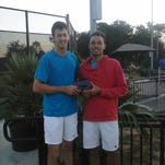 Justin Shane (left) and Ben McLachlan won the doubles title of the 2014 Pensacola Futures Championship. They face each other in a singles semifinals today.