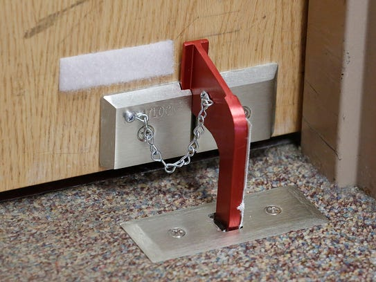 A device used to lock doors during a lockdown at North Fond du Lac schools.