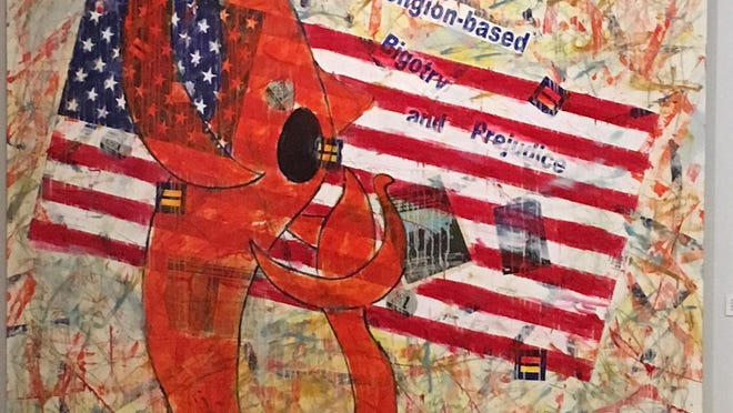 Syrian-born artist Nabil Mousa uses the American flag in paintings that examine freedom and gay rights in America.