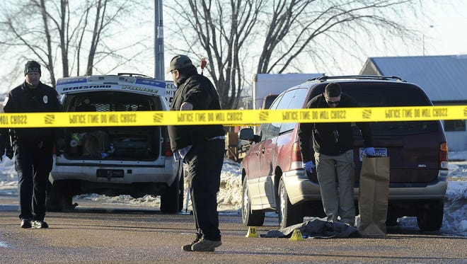 Officers responded to a call at 101 N. 13th Street where Christopher Lee Heuer, 21, of Sioux Falls, was shot and injured as a result of the incident in Beresford, S.D., Thursday, Jan. 15, 2015.