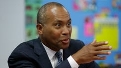Deval Patrick speaks in Pembroke Park, Fla., in September