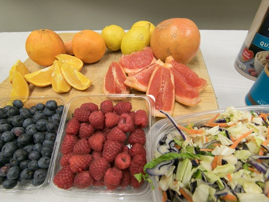 Fruits and vegetables are displayed at Genoa Medical