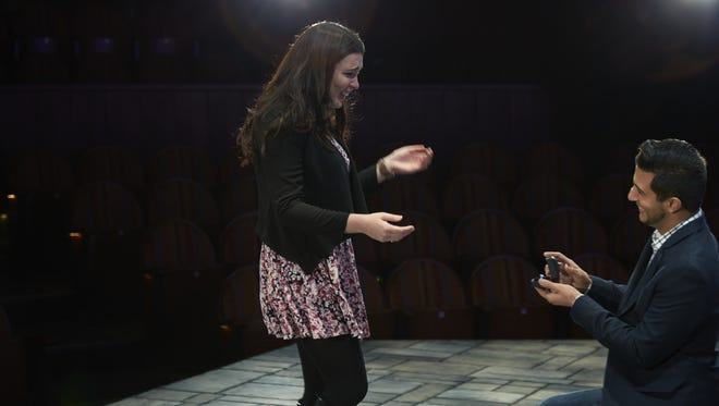 Louis Castano proposing to Jenna Rocca on the set of The Importance of Being Earnest at TRT