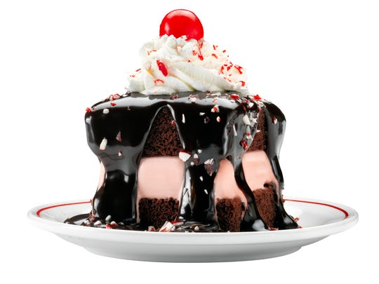 The peppermint hot fudge sundae cake at Frisch's