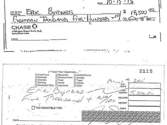 Copy of checks made out to Eric Byrnes for what he