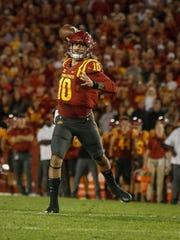 Iowa State quarterback Jacob Park throws a touchdown
