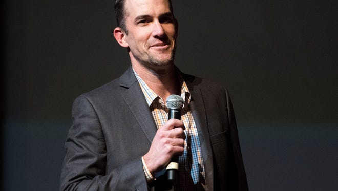 Tennessee offensive coordinator/quarterbacks coach Tyson Helton talks about the quarterbacks during a Signing Day celebration at the Tennessee Theatre on Wednesday, February 7, 2018.
