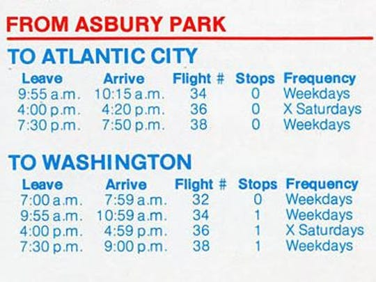 Part of a timetable for flights between Asbury Park