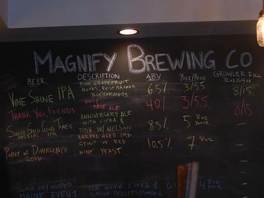 Magnify's beer menu.