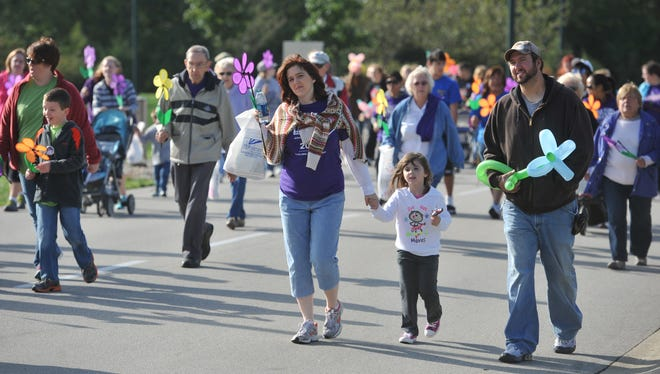 Walkers participate in a past Walk to End Alzheimer's.