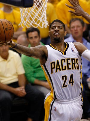 Pacers forward Paul George gets a layup in Game 5 vs. the Heat.