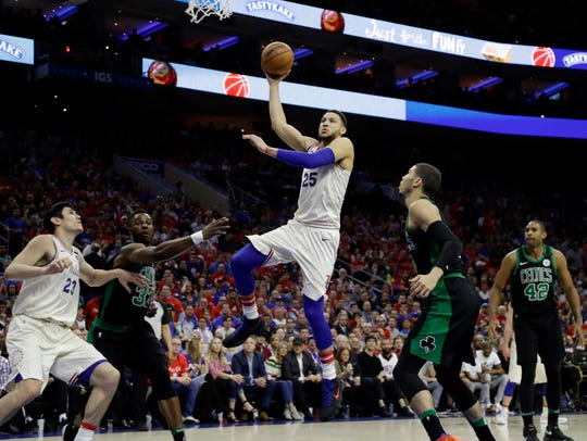 Philadelphia 76ers' Ben Simmons (25) goes up for a